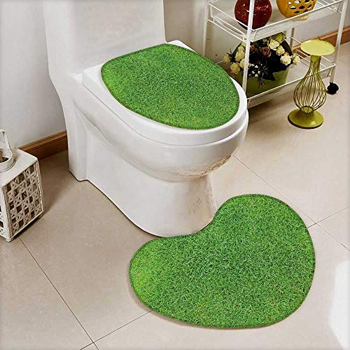 Analisahome Printed Bath Heart shaped foot pad Set Green grass,Soccer football field stadium grass Toilet cushion suit by Analisahome