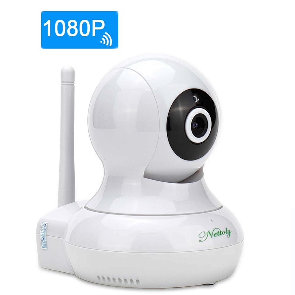 Security Cameras WiFi IP 1080P Camera Surveillance Cameras Home Indoor Camera Wireless Dog Baby Monitor Video Cam Plug Play Pan Tilt with Two-Way Audio Night Vision White