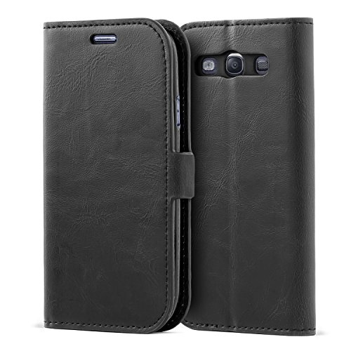 Samsung Galaxy S3 Case,Mulbess Vintage Leather Wallet Case with TPU Inner Shell, Magnetized Closure, Card Slots Money Pouch and Stand Feature for Samsung Galaxy S3,Black (Galaxy S3 Cases Wallet)