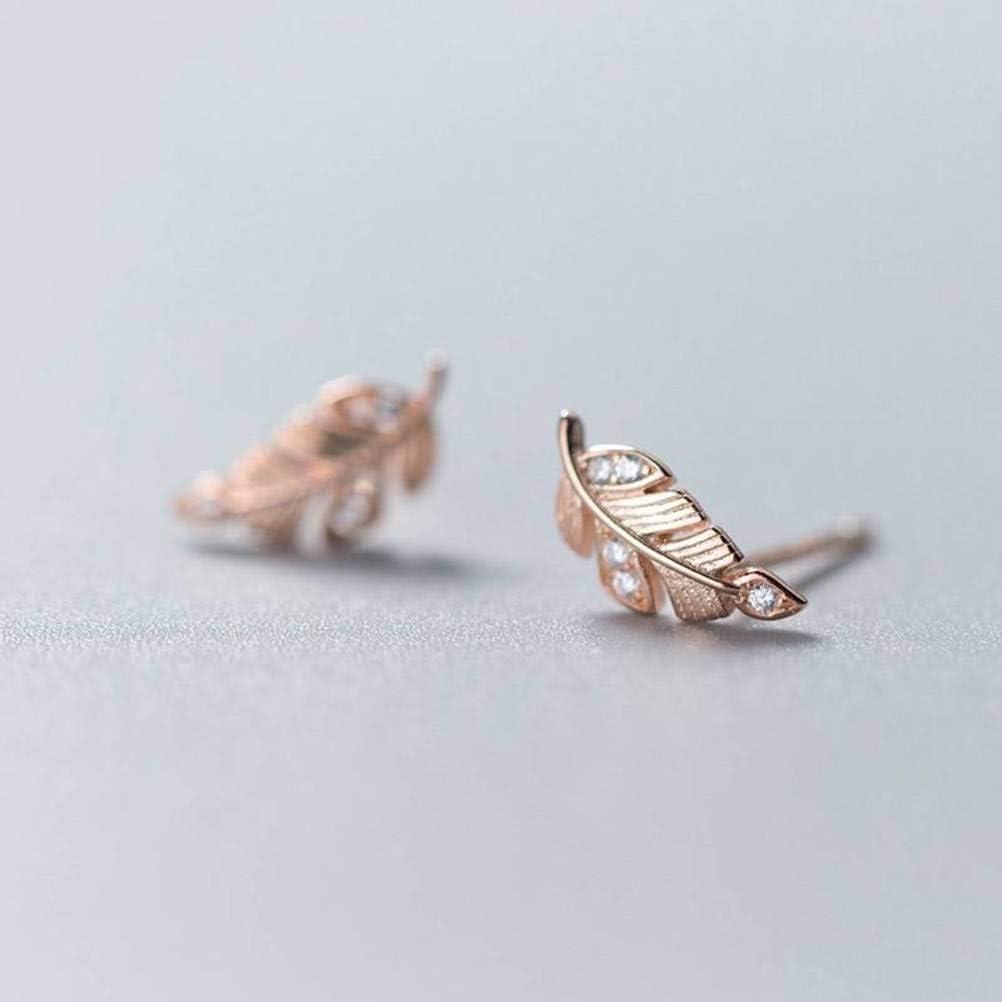 S&RL S925 Pendientes de Plata Pendientes de Diamantes de Plumas de Estilo de Moda Coreana para Mujeres Dulces Personalidad Deja Joyería de Orejaoro y rosa, Plata 925
