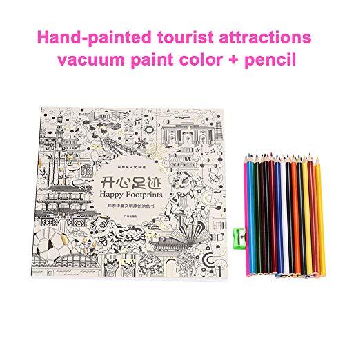 Kdheart - Cuadernos de dibujo para colorear (1 juego, con lápices especiales), diseño de graffiti, artículos de papelería...
