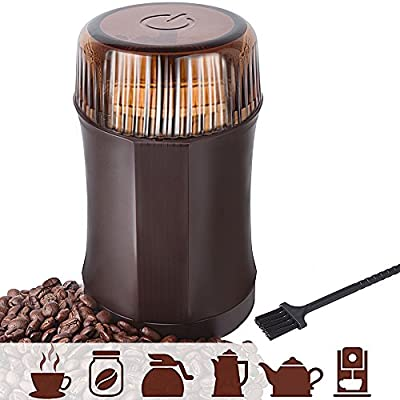 AmoVee Electric Coffee Grinder with Stainless Steel Blades for Coffee Beans, Spice, Nuts, Herbs, Pepper and Grains, Brown, 200W, Cleaning Brush Included from AmoVee