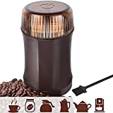 AMOVEE Electric Coffee Grinder with Stainless Steel Blades for Coffee Beans, Spice, Nuts, Herbs, Pepper and Grains, Brown, 200W, Cleaning Brush Included