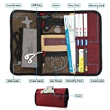 Travel Gear Organizer with Passport Cash Card Slots - Maxjoy Roll-up Electronics Accessories Organizer, Small Gadget Carry Case for Chargers USB Cables and Other Electronics Accessories, Red