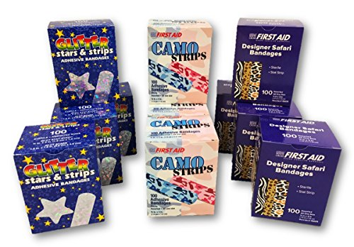 Designer Bandages Mixed Case of 12 Boxes - Glitter Stars & Stripes, Camo Strips, Designer Safari Bandages