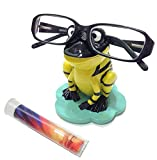 Black & Yellow Frog Novelty Gift Eyeglass Holder Stand & Lens Cleaning Cloth