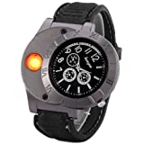 E-18th Military Men Lighter Watch USB Rechargeable Windproof Flameless Cigarette Lighter Wristwatch (black)