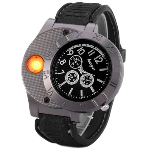 E-18th Military Men Lighter Watch USB Rechargeable Windproof Flameless Cigarette Lighter Wristwatch (black) by E-18th