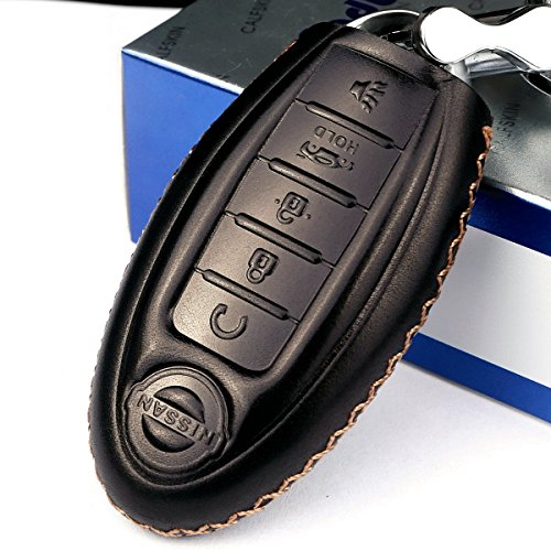 Calfskin Holder (Cadtealir Calfskin Genuine Leather 2008-2018 Nissan Altima Maxima Murano Pathfinder Rogue Armada key fob cover case holder only for 5 buttons black color)