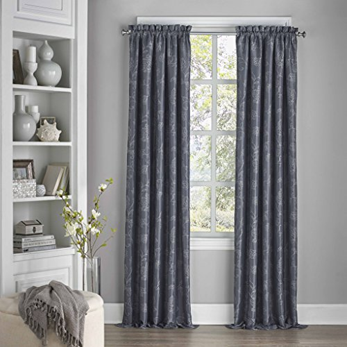 Eclipse 15455052095MDN Mallory 52-Inch by 95-Inch Blackout Floral Single Window Curtain Panel, Midnight