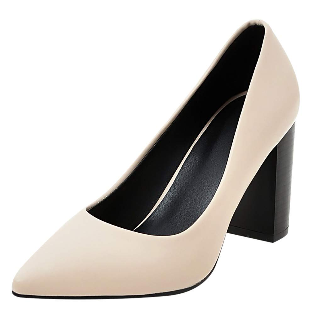 Womens Retro Square High Heel Shallow Single Shoes Classic Pointed Solid PU Leather Sandals Comfy Office Lady Work Shoes (Beige, 8 M US)