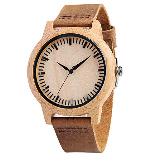(CUCOL Mens Bamboo Wooden Watches Stripe Brown Cowhide Leather Strap Japanese Quartz Movement for Groomsmen with Gift Box)