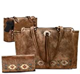 Dual Entry Concealed Carry, All Leather Tote + Wallet, American West Native Sun