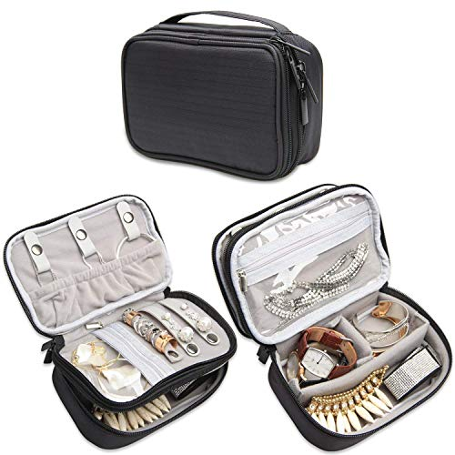Teamoy Jewelry Travel Case, Jewelry & Accessories Holder Organizer for Necklace, Earrings, Rings, Watch and More, Roomy, Compact and Portable, Black from Teamoy
