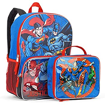 69eb2f0a2f1 DC Comics Batman, Superman, Green Lantern and Flash Justice League 16-Inch School  Backpack with Lunch Bag Set