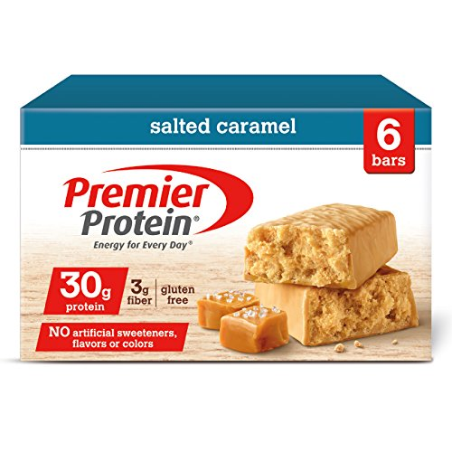 Premier Protein Nutrition Bar, Salted Caramel, 30g Protein, 6 (Caramel Double Chocolate Crunch Bars)