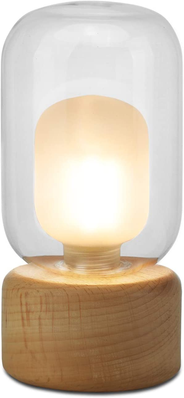 Small Table Lamp, Imego Desk Ambient Light with Glass Shade, Modern Accent Lamp Wood Base, Bedside Nightstand Lamp for Bedroom, Living Room