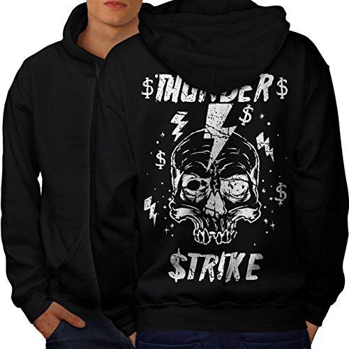 [Skull Thunder Strike Lightning Men XXXXL Hoodie Back | Wellcoda] (Thunder Lightning Costume)