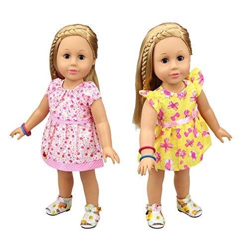 [HappyBB Baby Doll Clothes Skirt Fits 14 inches American Girl Doll - 2 PCS Floral Dress] (Doctor Barbie Costume)