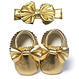 YOHA Infant Baby Girls PU Moccasins Bow Tassels Toddler Shoes with Elastic Bow Headband Set Golden,11