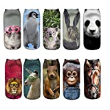 Footalk Women's 3D Cartoon Print Colorful Casual Ankle Socks Crazy Fun 10Packs