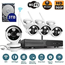VOYAGEA 960P HD Wireless 4CH Wireless monitoring 4 Channel 960P Wifi NVR CCTV Surveillance 1.3MP Outdoor Security Network Camera Support Motion Detection 3TB hard drive A9