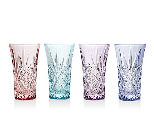 Godinger Silver Art Dublin Blush Assorted Colors Non-leaded Crystal Vodka Shot Glasses Shooters Barware, Set of 4