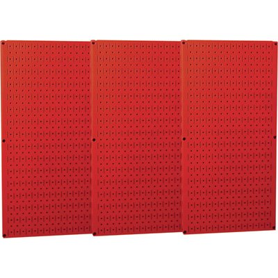 Wall Control Industrial Metal Pegboard - Red, Three 16in. x 32in. Panels, Model# 35-P-3248RD
