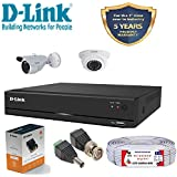 MILESTONE D-Link 4 Channel CCTV 1MP Kit 1 Dome and 1 Bullet with All Accessories