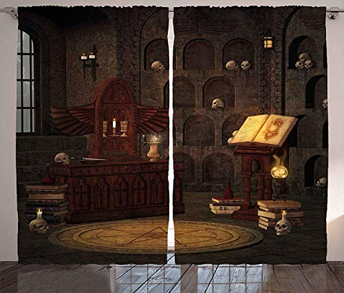 LQQBSTORAGE Gothic Decor Curtains,Chamber of Secret Rite with Skulls On The Wall Sacred Sorcery Spell Image Thermal Insulated Blackout Curtains 2 Panel Set W84 x L96/Pair Brunette Brown