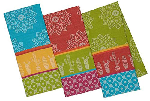 Design Imports Baja Cantina Cotton Southwest Table Linens, Jacquard Dishtowel 18-Inch by 28-Inch, Set of 3, 1 Blue 1 Red and 1 Green Cactus - Dish Towel Jacquard