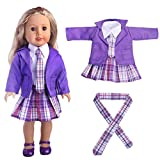 dolls accessory dolls clothes, 4pcs outfits Dolls Clothes christmas jumper Coat+White Shirt+Skirt+Tie for 18 inch our generation Fashion Dolls - Hirolan Dolls Outdoor Accessories (Purple)