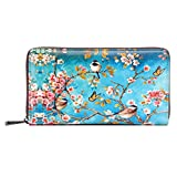 APHISON Card Holder Zipper Purse Women Phone Clutch Wallet Painting Wristlet with Wrist Strap (0170A)