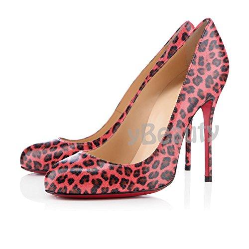 uBeauty Runde Zehen High Heels 12 cm Pumps Sexy Rote Sohle Stiletto Slip On Pumps Große Größe Pumps Leopard D