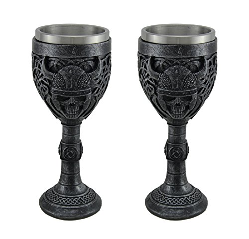 Chalice Set (Resin Goblets Set Of 2 Viking Skull Stainless Steel Lined Gothic Chalices 3.25 X 7.5 X 3.25 Inches Gunmetal)