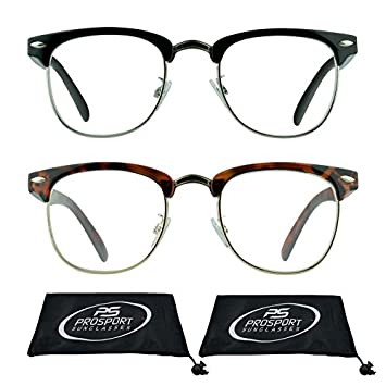 c21d9bb4d2 Image Unavailable. Image not available for. Color  Horn Rimmed Reading  Glasses Vintage Clubmaster Semi Rimless for Men and Women. 2 Pairs