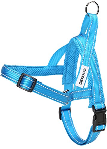 DEXDOG #1 Best Dog Harness — EZHarness On/Off Walk in Seconds! [Blue Small S] — Easy Quicker Step in Dog Harness Vest — Puppy No Pull Reflective Mesh Handle Adjustable Training