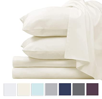 c3ac9664ac9a Pizuna 1000 Thread Count Cotton Sheets Queen Ivory, 100% Long Staple Cotton  Sateen Queen