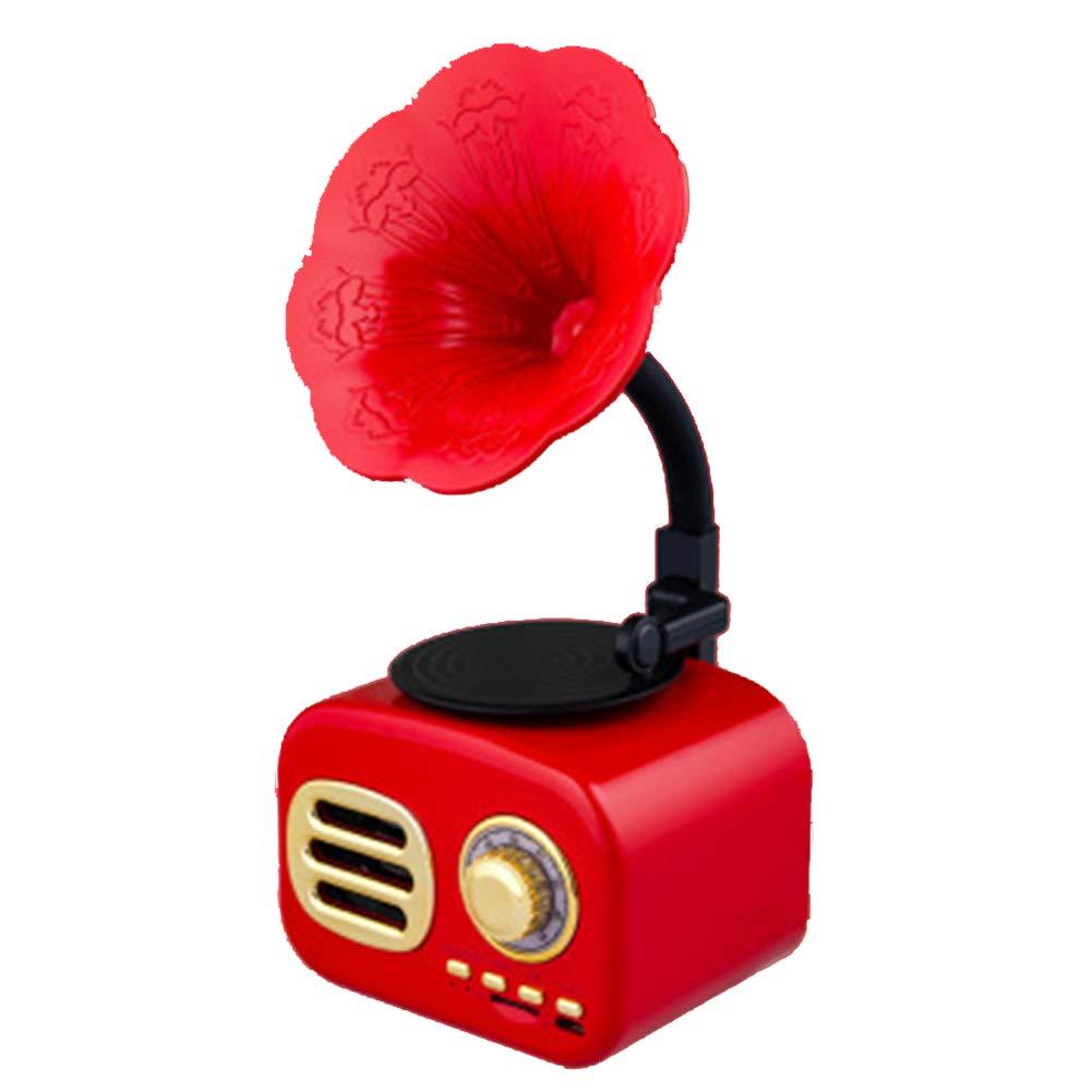 Porte per schede USB//TF Pink Jack AUX da 3,5 mm Mini Altoparlante in Stile Grammofono Classico con Ricevitore AM-FM Audio Stereo da 5 W Taglia Unica CVERY Vintage Bluetooth Radio