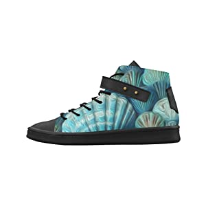 Shoes No.1 Women's Sneakers Lyra Round Toe High-top Shoes Painted Blue And Green Seashells For Outdoor