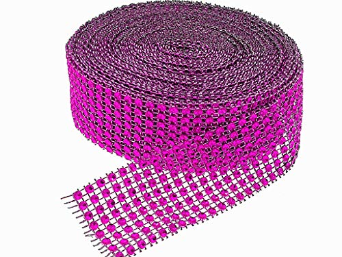 Hot Pink Bling - Simulative Diamond Mesh Wrapping Ribbon Roll,DIY Bling for Cake Vase Candle Decorations on Birthday Wedding(8 Row,1.5