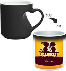 Magic Mug with inner heart handle For Coffee or tea By decalac, mugHM-BLK-02287