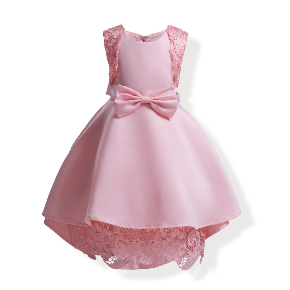 Mrsrui Little Girl Dress Kids Ruffles Lace Party Wedding Dresses Birthday Gift (100#, Red)