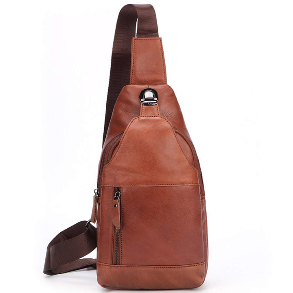 XIAOF-FEN Mens Casual Handmade Messenger Bag Leather Shoulder Bag Oil Wax Leather Chest Bag Men Bags Color : Brown, Size : M