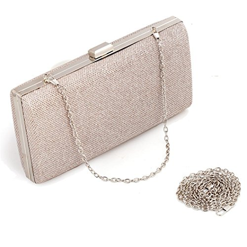 Womens Vintage Envelope Clutch Champagne Evening Handbag For Cocktail/Wedding/Party (Champagne) Evening Clutch