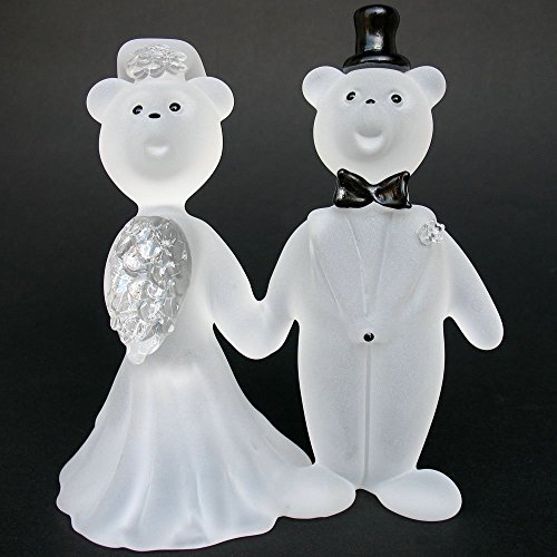 Teddy Bear Bride and Groom Wedding Cake Topper Figurine of Hand Blown (Groom Glass Bears)