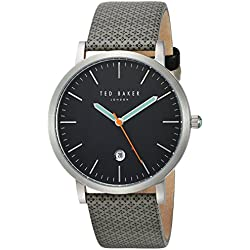 Ted Baker Men's 'GRAHAM' Quartz Stainless Steel and Canvas Dress Watch, Color:Grey (Model: 10031493)