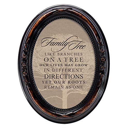 Cottage Garden Family Tree Like Branches Amber Floral 5 x 7 Oval Table Top and Wall Photo Frame