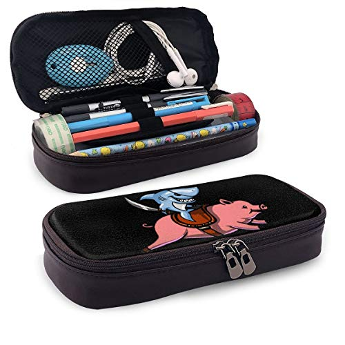 Ride On Ninja Shark Pig Theme Cute Pen Pencil Case Leather 8 X 3.5 X 1.5 Inch Big Capacity Double Zippers Pencil Pouch Bag Pen Holder Box for School Office Girls Boys Adults