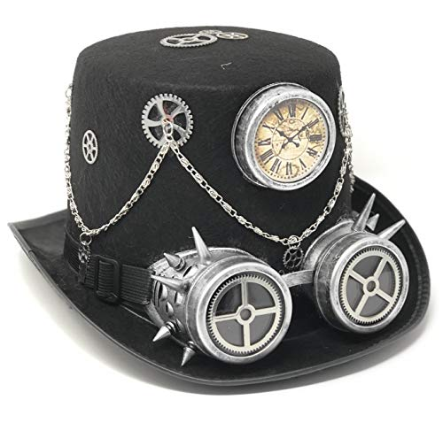 Storm Buy ] Steampunk Style Metallic Top Hat Scientist Time Traveler Feather Halloween Costume Cosplay Party with Goggles (Silver with Goggle) ()